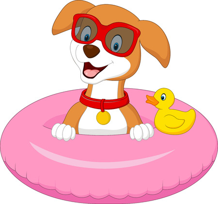 floating: Cartoon dog with inflatable ring