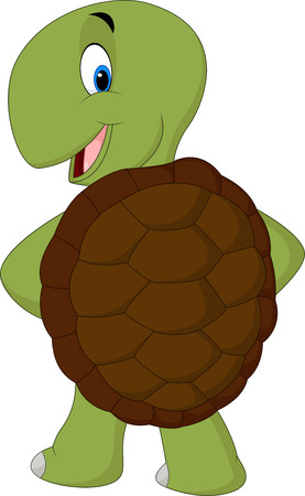 Cartoon cute turtle posing