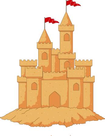 fantasy: Cartoon sandcastle isolated on white background Illustration