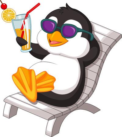 penguins on beach: Penguin is getting sunbath Illustration
