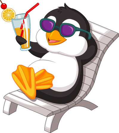 Penguin is getting sunbath Illustration