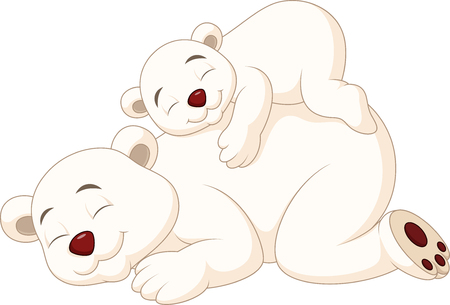 big: Vector illustration of Cartoon mother and baby polar bear sleeping