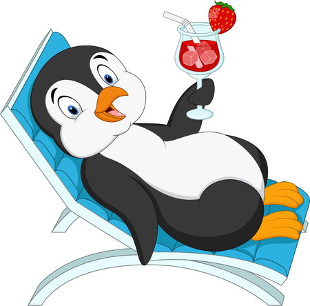 Vector illustration of Cartoon penguin sitting on beach chair and holding cocktail