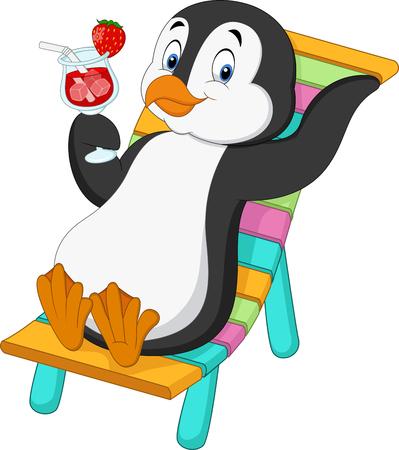 漫画のペンギンのビーチチェアに座って押しカクテルのベクトル イラスト  イラスト・ベクター素材