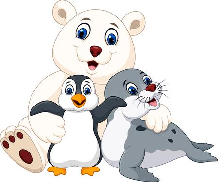 cuddling: Vector illustration of Cartoon happy pole animals Illustration