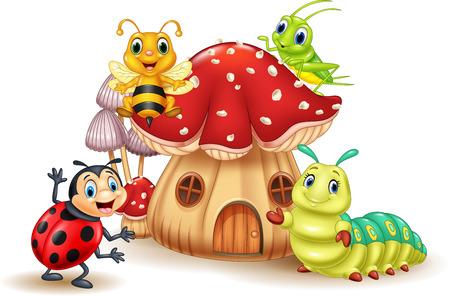 Ilustración vectorial de pequeño insecto de dibujos animados con la casa de setas