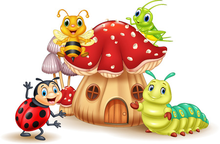 Vector illustration of Cartoon small insect with mushroom house