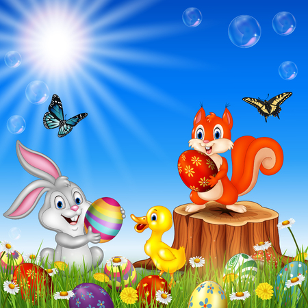 Vector illustration of Cartoon funny animals with nature Easter background
