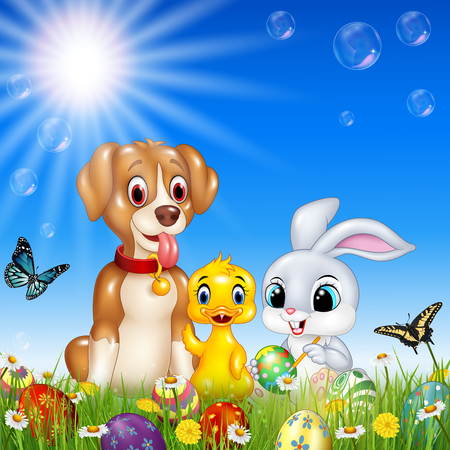 duck egg: Vector illustration of Cartoon funny animals with nature Easter background