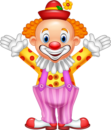 Vector illustration of Cartoon funny clown