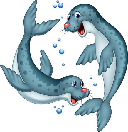 Vector illustration of Cartoon happy seals couple