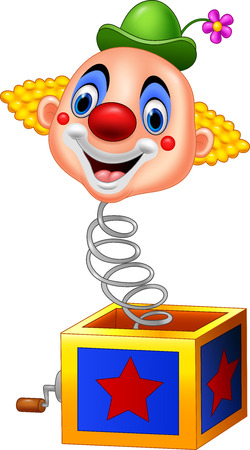 Vector illustration of Cartoon clown head coming out of the box