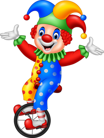 Vector illustration of Cartoon clown riding one wheel bike