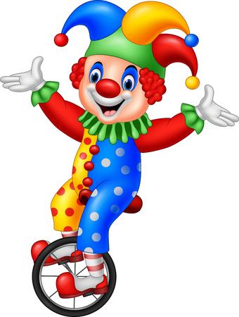 Vektor-Illustration von Cartoon-Clown Reiten ein Rad Fahrrad Illustration