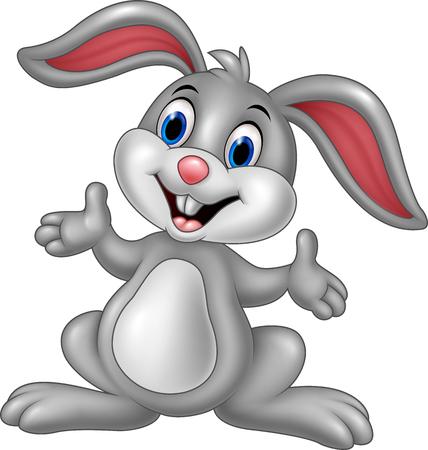 Vector illustration of Cartoon cute rabbit posing Векторная Иллюстрация