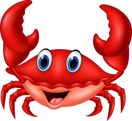Ilustración vectorial de dibujos animados sonriente cangrejo