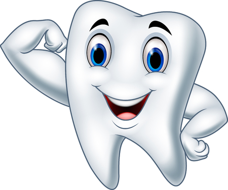 Vector illustration of Cartoon strong tooth character Ilustração