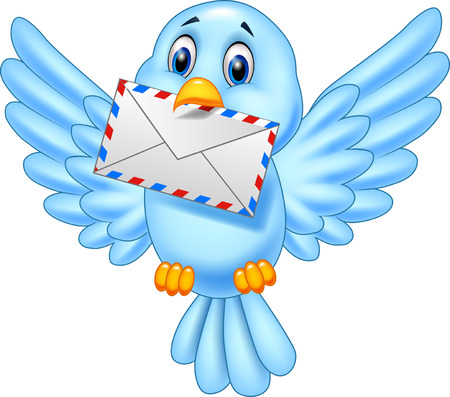 Vector illustration of Cartoon bird delivering letter Illustration