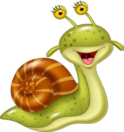 Vector illustration of Cartoon happy snail