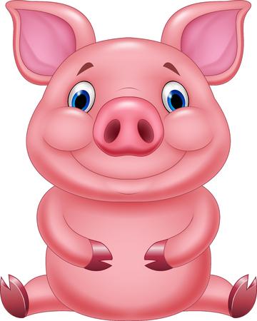 Vector illustration of Cute baby pig cartoon sitting