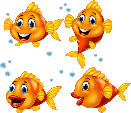 Ilustración de vector de conjunto de colección de dibujos animados de peces lindos
