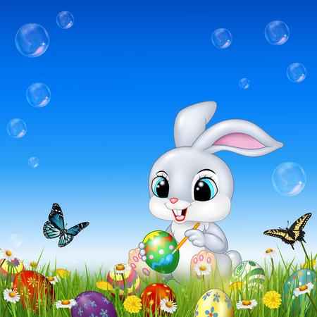 Vektor-Illustration von Cartoon-Kaninchen schmücken ein Osterei Vektorgrafik