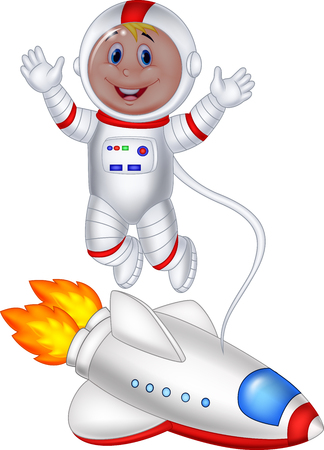 Vector illustration of Cartoon astronaut isolated on white background