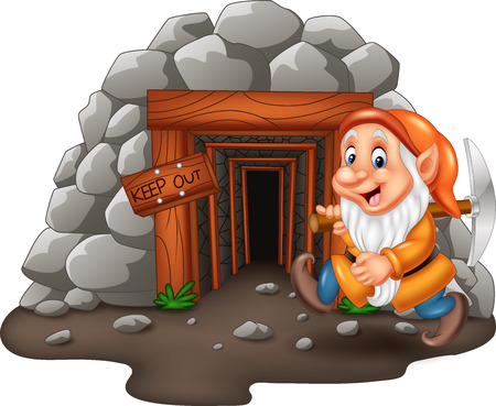 Vector illustration of Cartoon mine entrance with dwarf miner