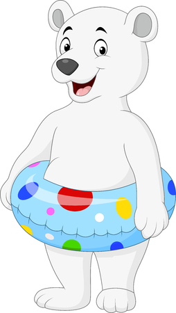 Vector illustration of Cartoon polar bear with inflatable ring Illustration