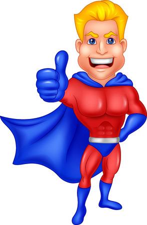 streaking: Vector illustration of Superhero cartoon giving thumb up Illustration