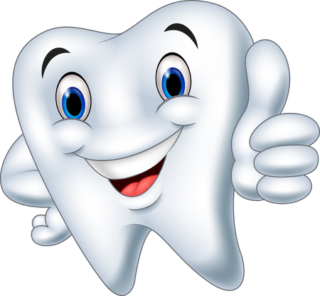 Vector illustration of Cartoon tooth giving thumb up