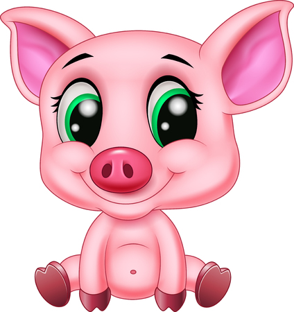 Vector illustration of Cute pig sitting