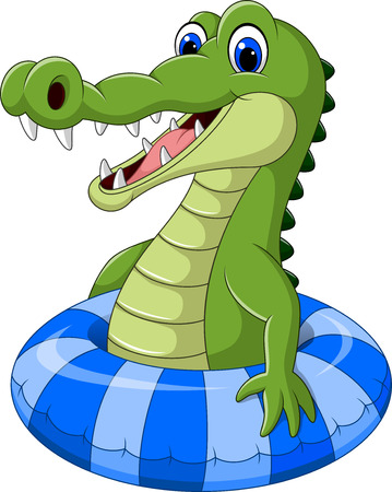 Vector illustration of Cartoon crocodile with inflatable ring Illustration