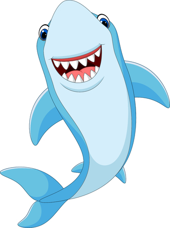 flippers: Vector illustration of Cartoon funny shark isolated on white background