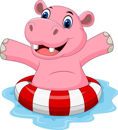 hippopotamus: Ilustración vectorial de hipopótamo de dibujos animados con anillo inflable Vectores