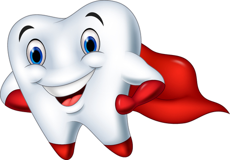 Vector illustration of Cartoon superhero tooth posing