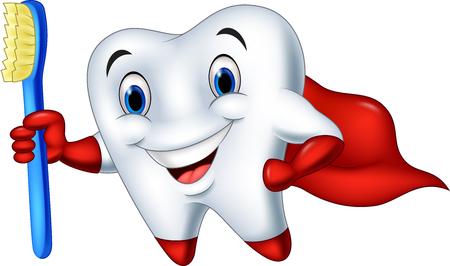 humor: Vector illustration of Cartoon superhero tooth with toothbrush