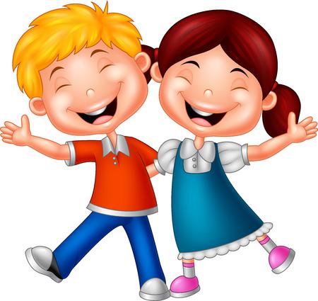 Ilustración vectorial de los niños felices de dibujos animados