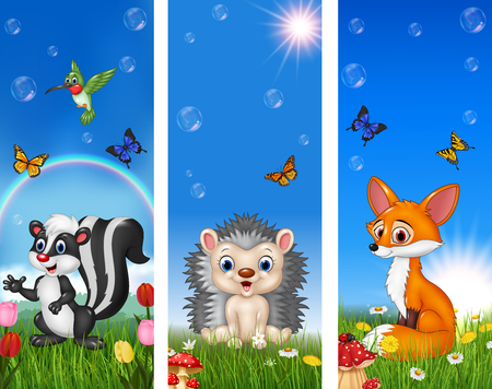 bush babies: Vector illustration of Set of tree funny animal with nature background