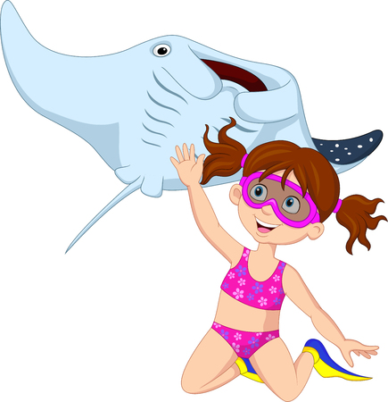Vector illustration of Cartoon little girl diving with stingray