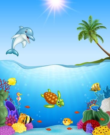 ecosistema: Ilustración de vector de peces tropicales de dibujos animados y hermoso mundo submarino