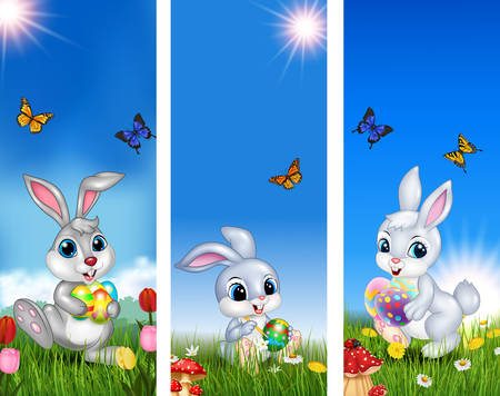 Vector illustration of Set of tree Easter background with rabbit and Easter eggs Illustration