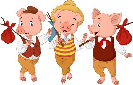 Illustration vectorielle de dessin animé trois petits cochons Banque d'images - 76913912