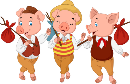 Vector illustration of Cartoon three little pigs Ilustração