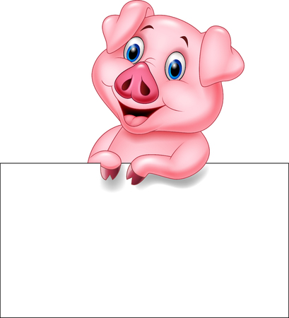 Vector illustration of Cartoon pig holding blank sign