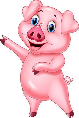 Vector illustration of Cartoon pig pointing isolated on white background Ilustração