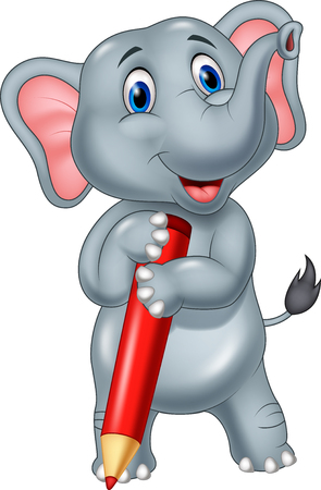 red happiness: Vector illustration of Cartoon elephant holding red pencil Illustration