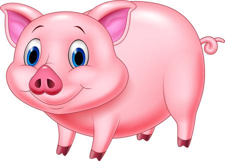 Ilustración vectorial de carácter de cerdo de dibujos animados