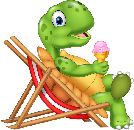 Vector illustration of Cartoon turtle sitting on beach chair and holding an ice cream Stock Illustratie