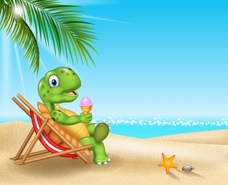 Vector illustration of Cartoon turtle relaxing on the beach